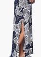 Network Askılı Desenli Uzun Elbise Lacivert